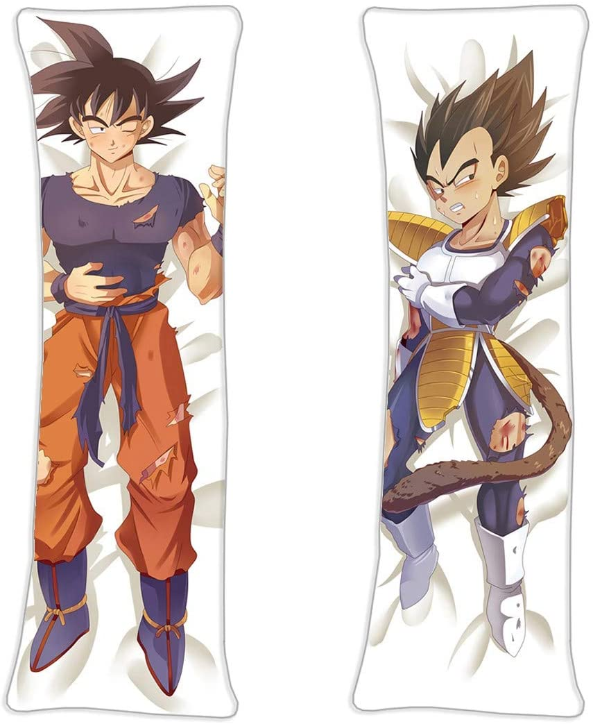 AWSRBO Goku and Vegeta - Dragon Ball Male Anime Sexy Girl Maid Costume Shame Posture Double-Sided Pattern Long Hugging Body Peach Skin Pillowcase 160 x 50cm(62.9in x 19.6in)
