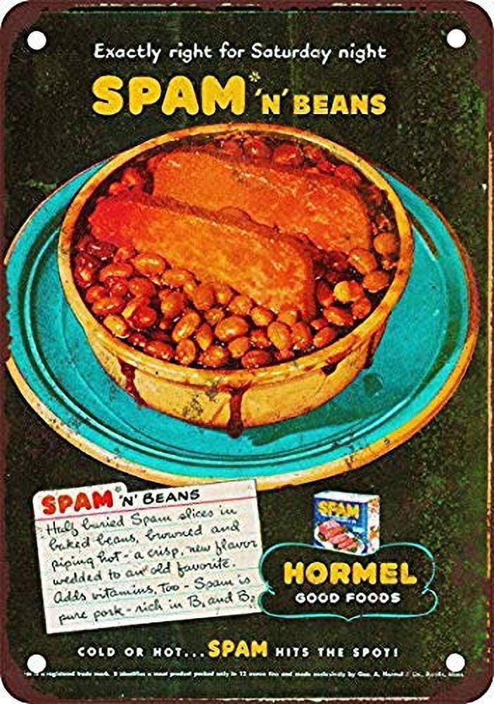 TINBG Hormel Spam 'N Beans Vintage Aluminum Metal Tin Sign Warning New Sign Plaque Poster Wall Retro Art Sign 20x30cm