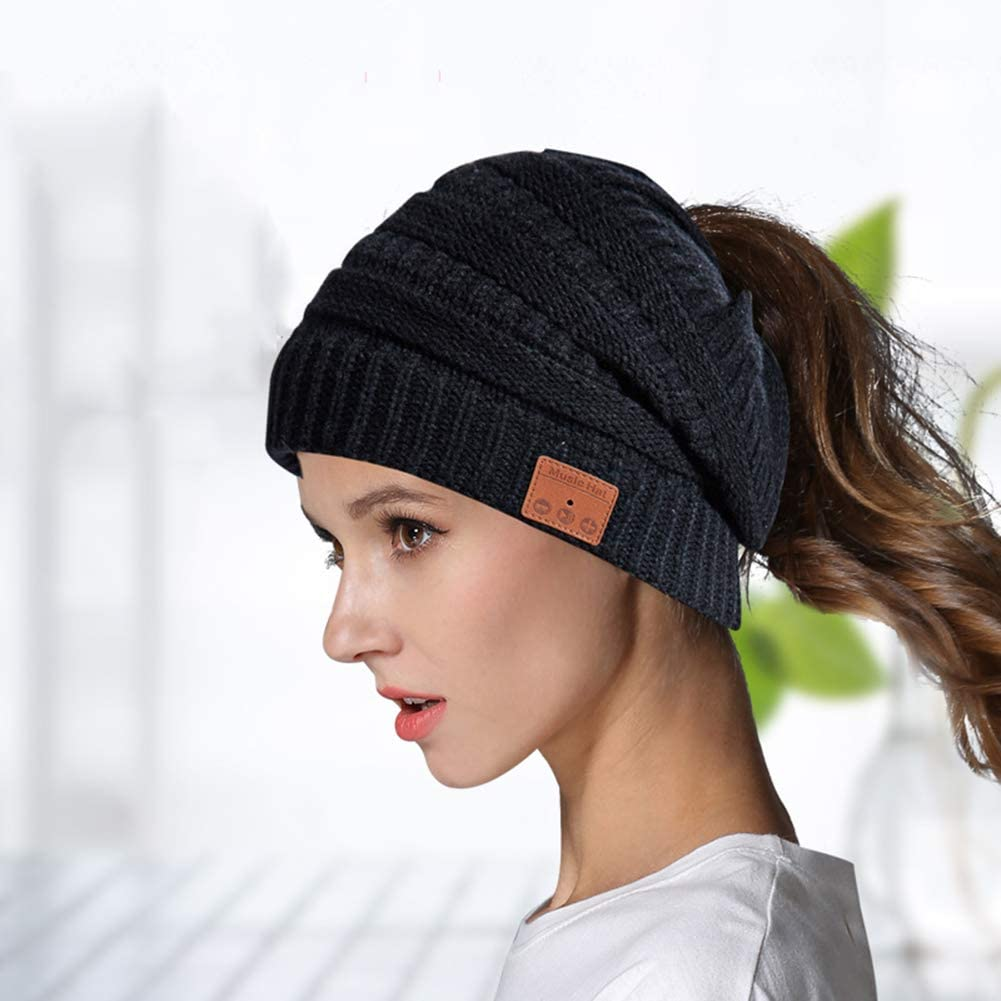 Bluetooth Beanie for Woman with Headphones Upgrade Bluetooth 5.0, Hands-Free Knit Music Hats Specil Design for Girl&Woman Comfort and Warm Material