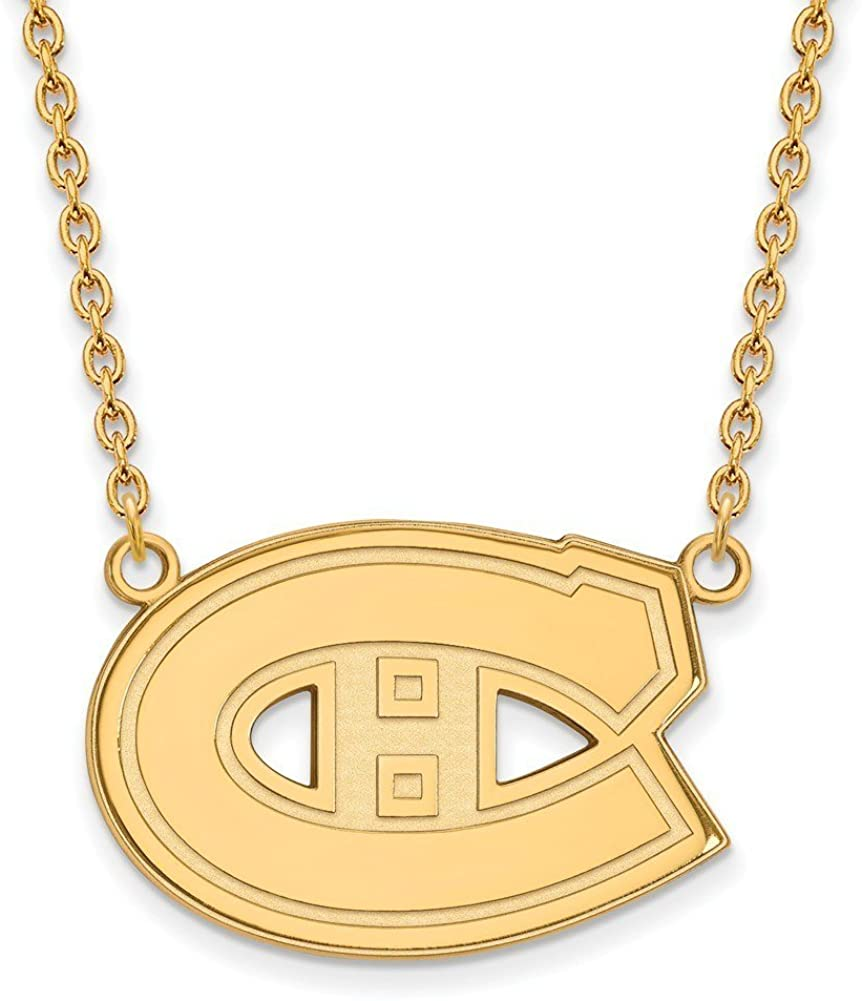 Montreal Canadiens Large (3/4 Inch) Pendant w/ Necklace (14k Yellow Gold)