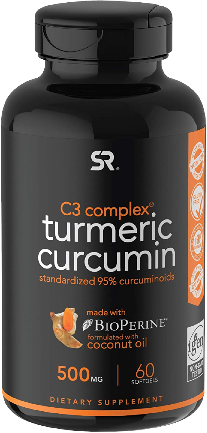 Turmeric Curcumin C3® Complex (500mg) Enhanced with Black Pepper & Organic Coconut Oil for Better Absorption; Non-GMO & Gluten Free (60 Liquid softgels)