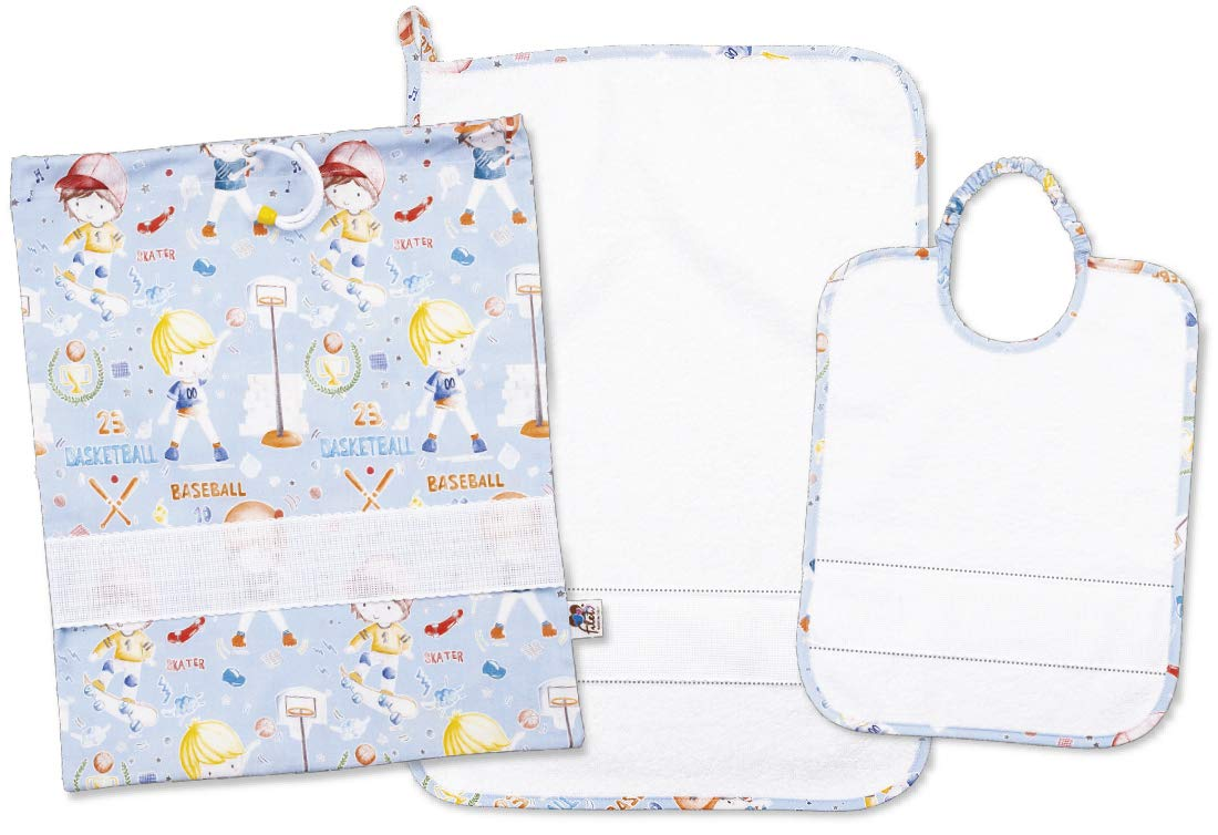 Filet Amasd578 3-Piece Set Embroidered Terry 100% Cotton Made in Italy Sports Fantasy - Light Blue, White