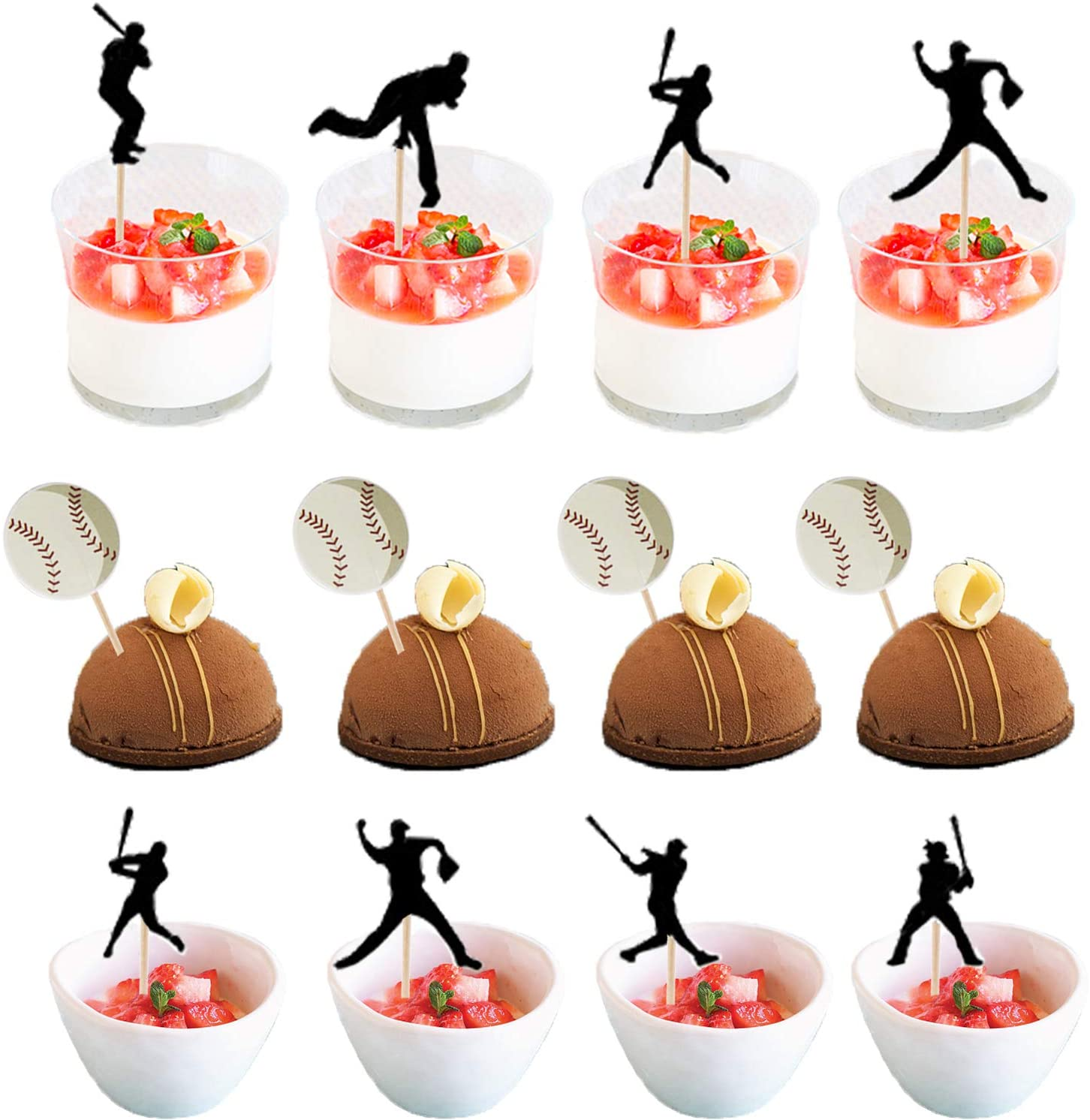 48PCS baseball Action Cake/Cupcake Toppers - Basketball/Sport Birthday Party Decorations Supplies Favors Cake Decor