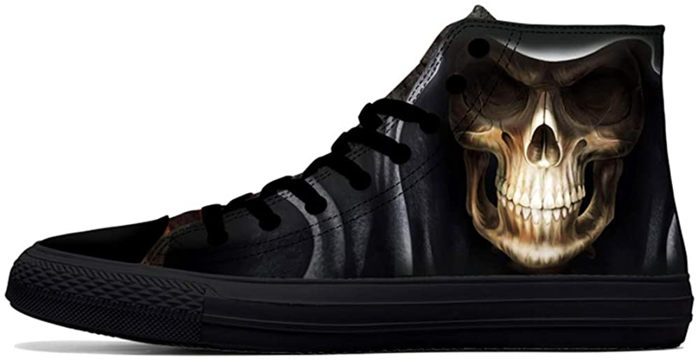 FIRST DANCE Cool Skull Print High Top Canvas Shoes for Men Clown Rock Design Fashion Sneakers