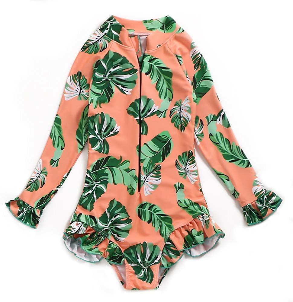 Girl Swimsuit One Piece Bathing Suit Long Sleeve Rashguard Swimwear UPF 50+ Sun Protection