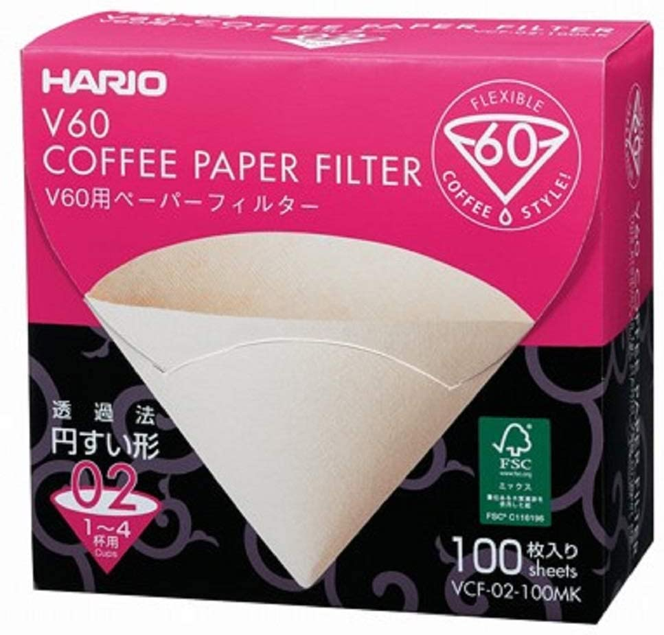 Hario V60 Paper Coffee Filters, Size 02, Natural, Untabbed