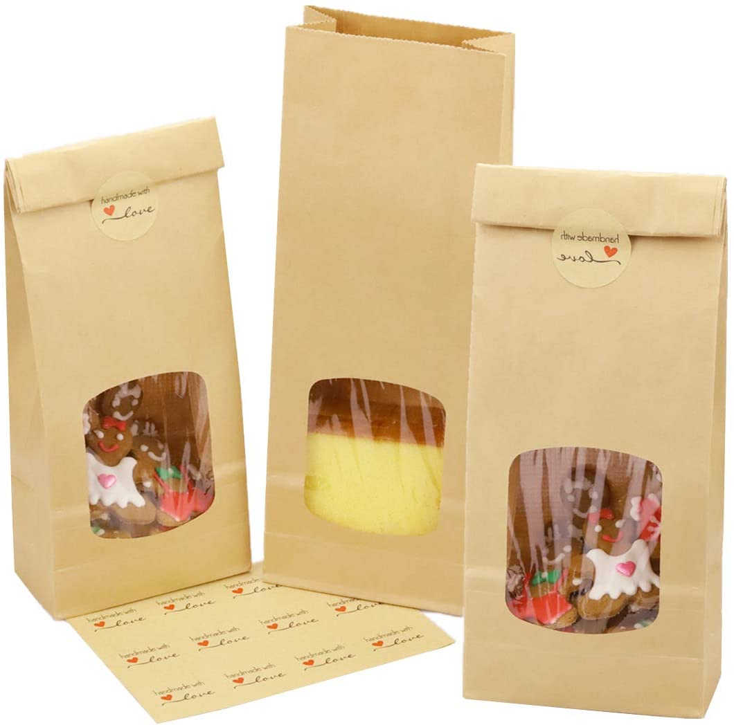 Bakery Bags with Window Kraft Paper Bags 10.6x4.3x2.1 inch Tin Tie Tab Lock Brown Packaging Bags Coffee Bags Cookie Bags Treat Bags Pack of 20