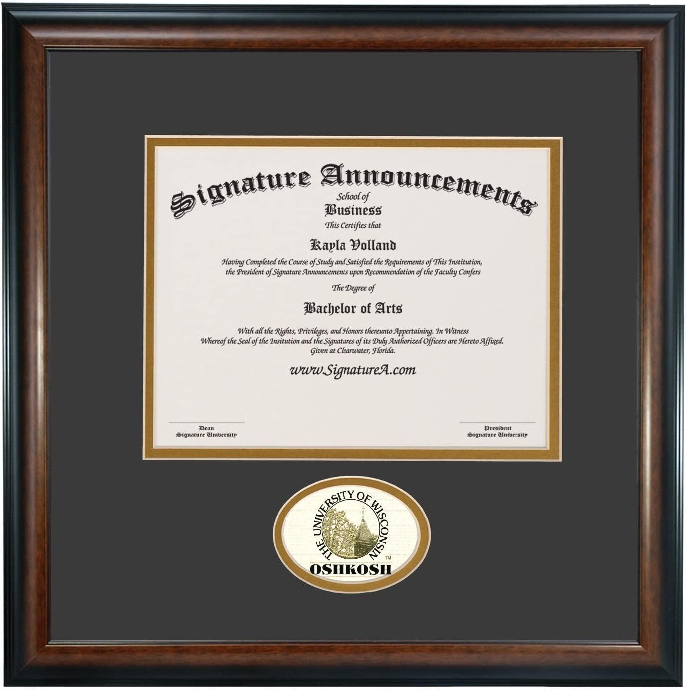 Signature Announcements University of Wisconsin OshKosh Undergraduate Sculpted Foil Seal Graduation Diploma Frame, 16