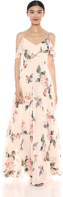 Jenny Yoo Women's Mila Ruffle Off The Shoulder Floral Chiffon Gown