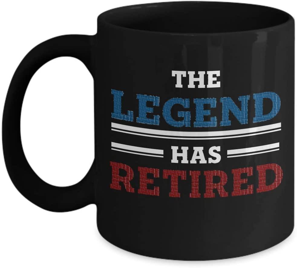 Retirement Coffee Mug The Legend Has Retired Mug gift for friend retirement Mug gift for coworkers retirement Office work retirement gift Colleagues retirement gift Boss Bossy goodbye gift (Black)