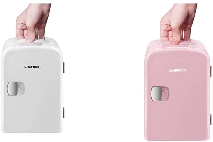 Chefman Mini Portable Compact Personal Fridge - White & Mini Portable Compact Personal Fridge Cools & Heats, 4 Liter Capacity, Includes Plugs for Home Outlet & 12V Car Charger, Pink