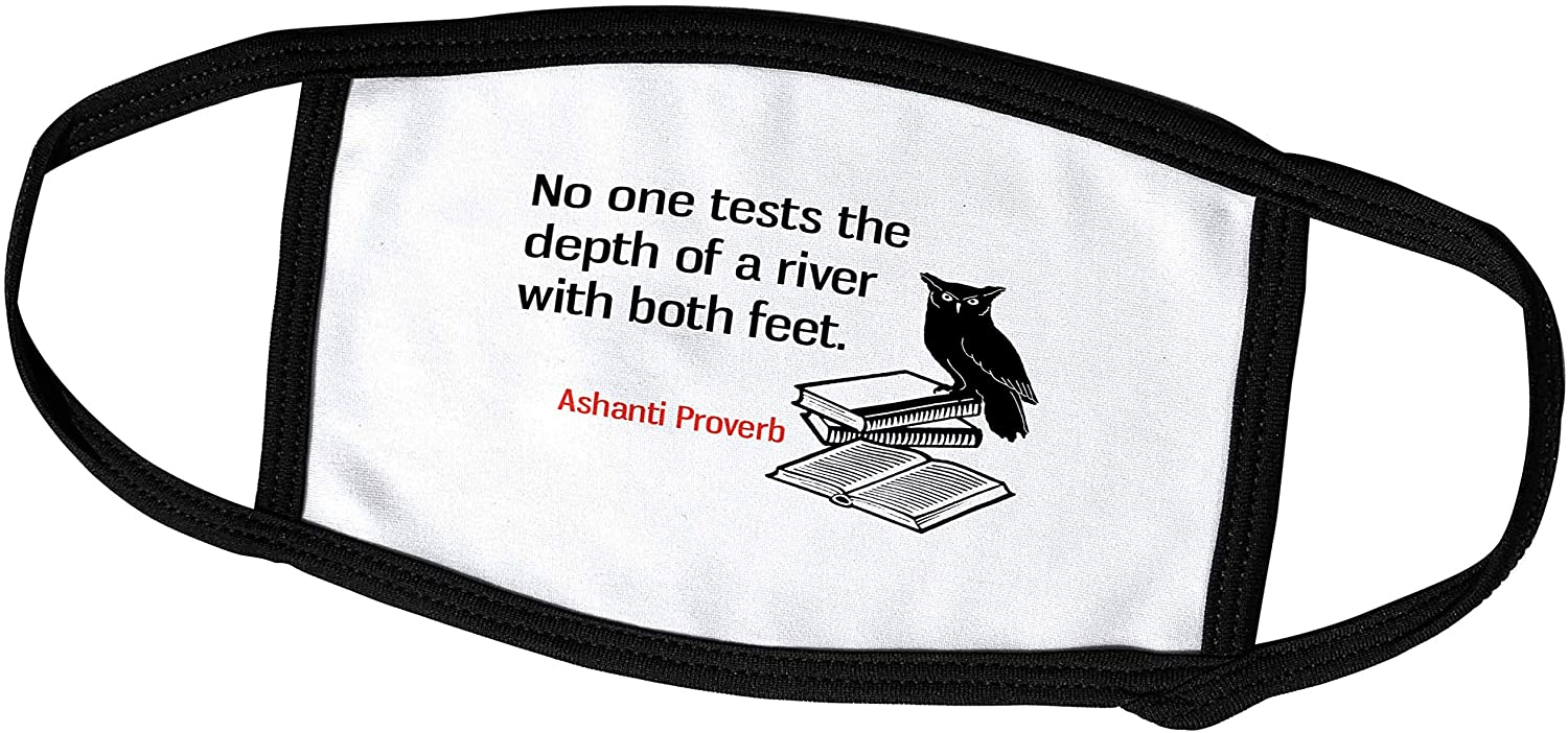 3dRose No one Tests The Depth of a River with Both feet. Ashanti Proverb - Face Covers (fc_306784_1)