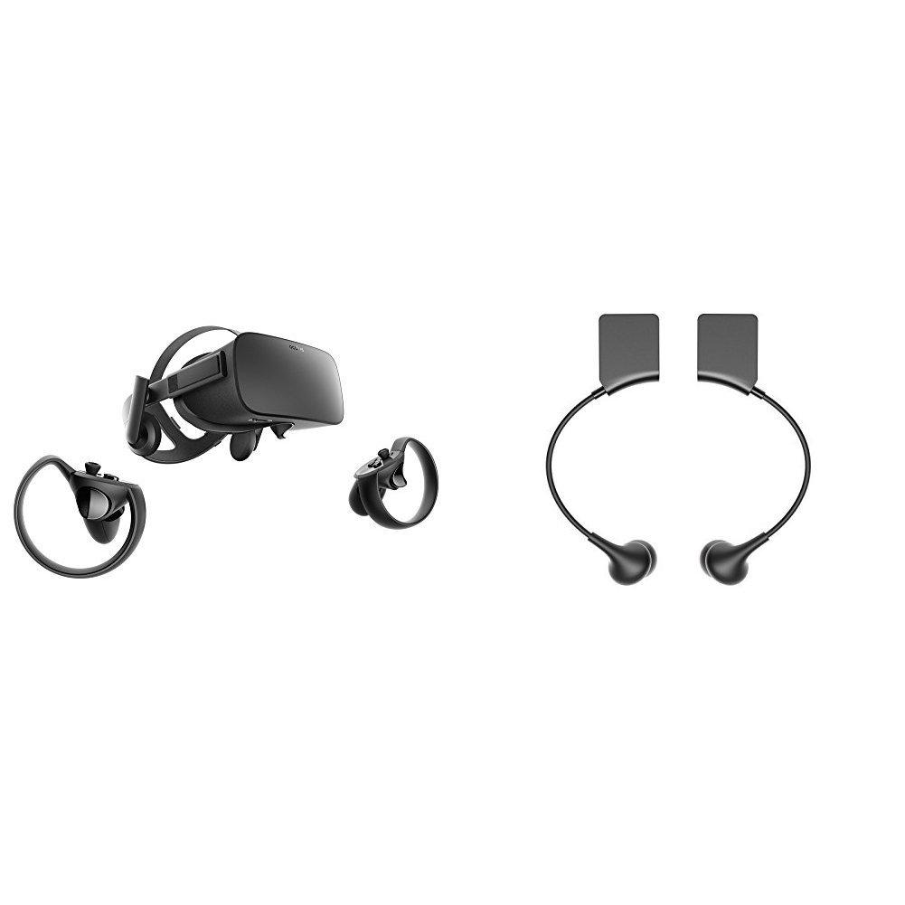 Oculus Rift + Touch Virtual Reality System + Oculus Rift Earphones Bundle