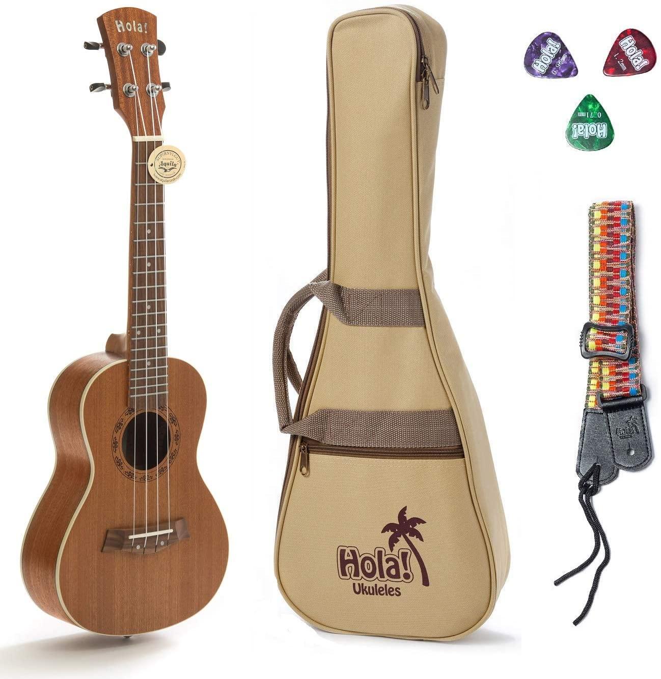Concert Ukulele Bundle, Deluxe Series by Hola! Music (Model HM-124MG+), Bundle Includes: 24 Inch Mahogany Ukulele with Aquila Nylgut Strings Installed, Padded Gig Bag, Strap and Picks