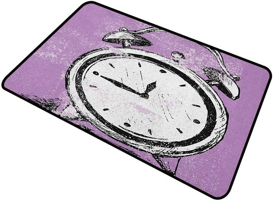 DESPKON Pet Mat Retro Alarm Clock Figure with Grunge Effects Classic Vintage Sleep Graphic Original Durable Door Mat for Shoe Scraper Purple White Black 16 x 24 Inch