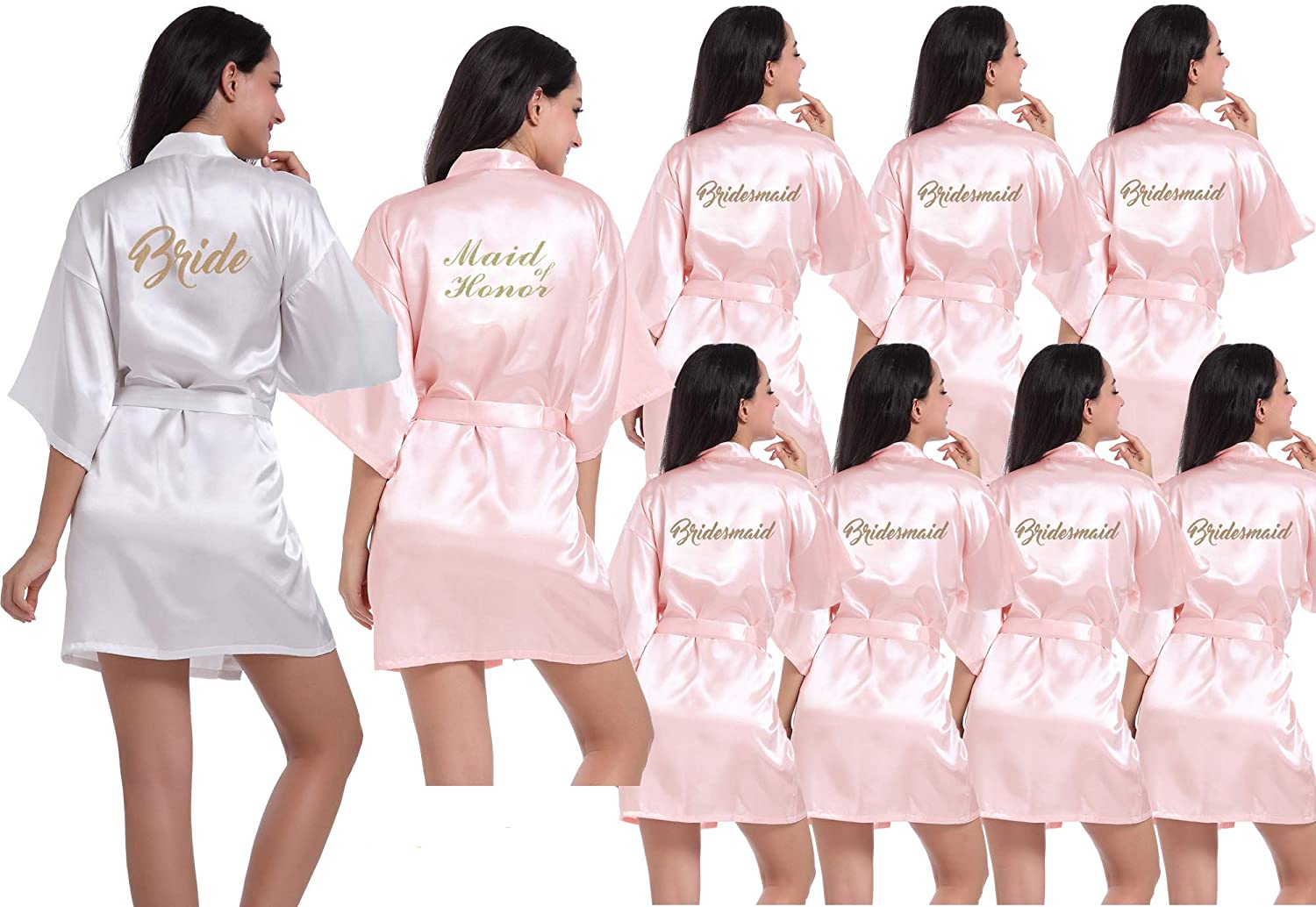 DF-deals Set of 3-12 Women's Kimono Robes with Gold Glitter for Bridesmaid and Bride,Wedding Party Getting Ready Short Robe