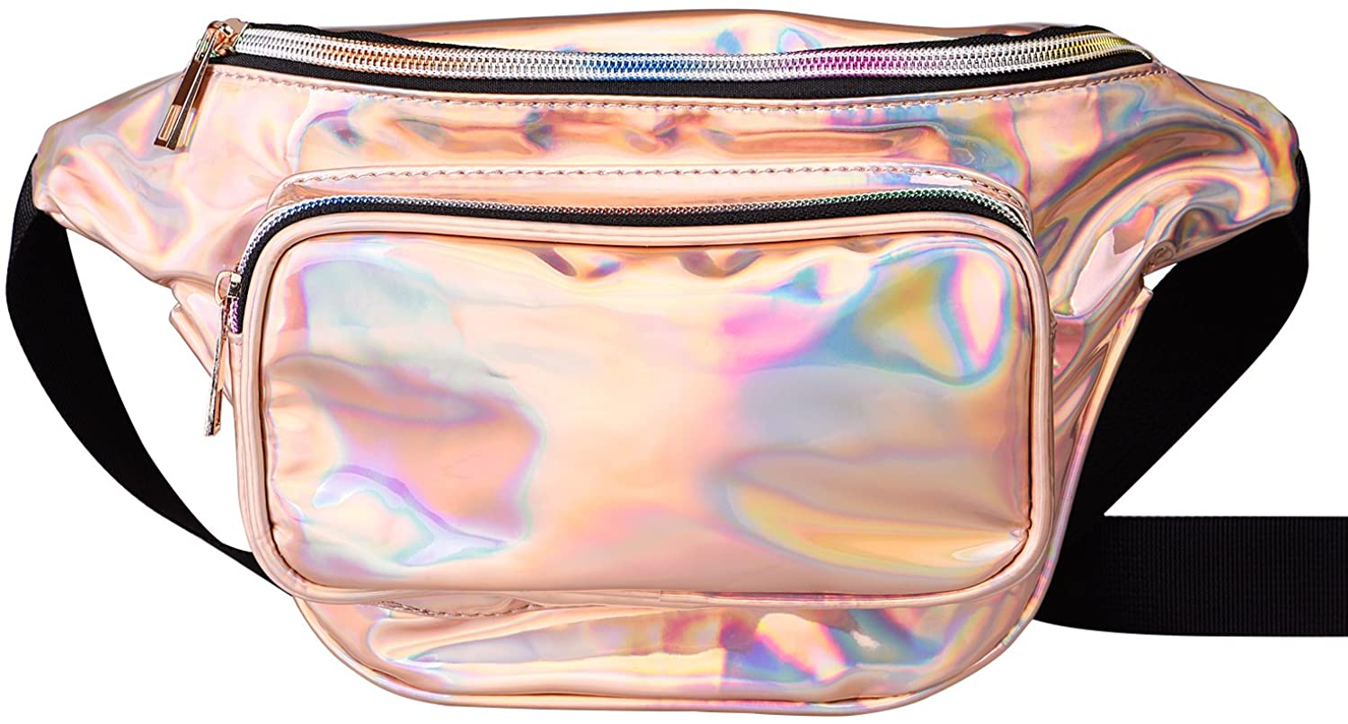 G-Fiend Women Waist Pack Holographic Shiny Fanny Pack Fashion Bum Bag