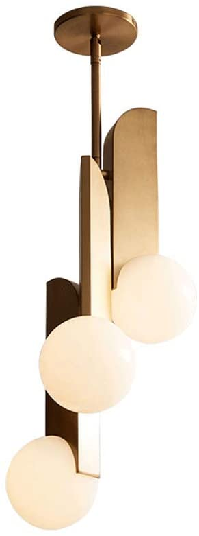 PENG Chandelier Nordic Copper Personality Living Room Chandelier American Simple Creative Restaurant Glass Light Cafe Bar Lamp