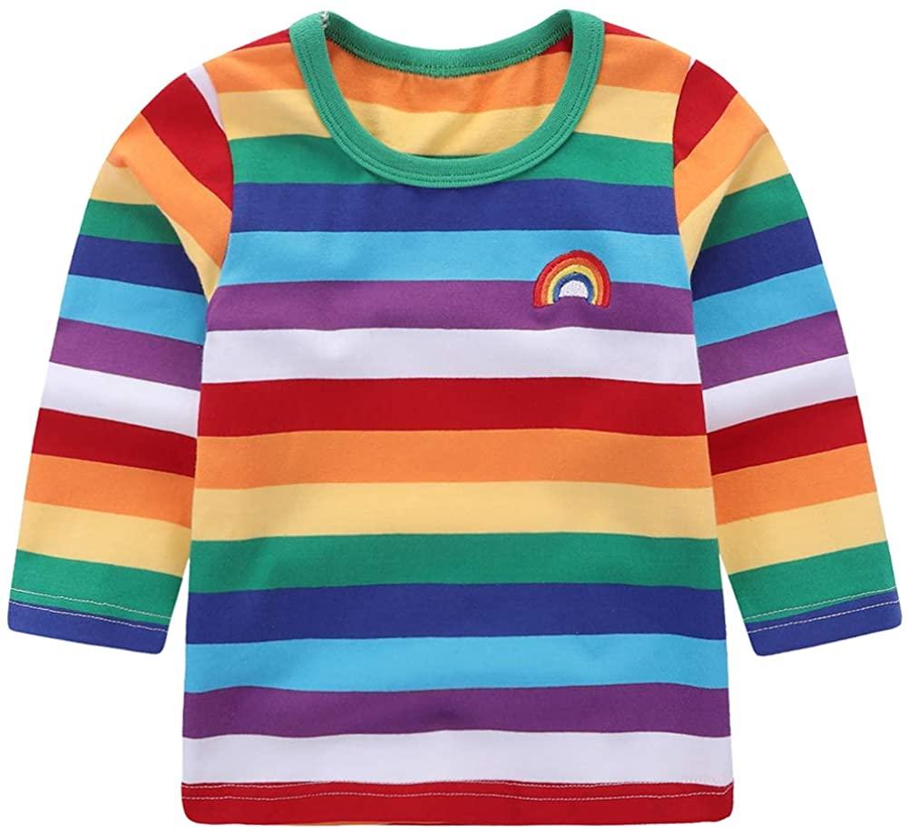Motteecity Little Boys' T-Shirt Rainbow Striped Size 3T Style-2