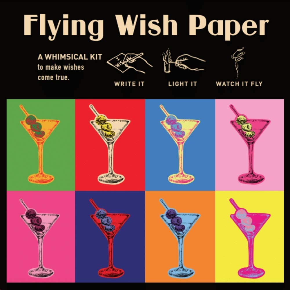 FLYING WISH PAPER Martini - Write it, Light it, Watch it Fly - Perfect Little Gift Wish Paper - 5 x 5 - Whimsical Mini Kit