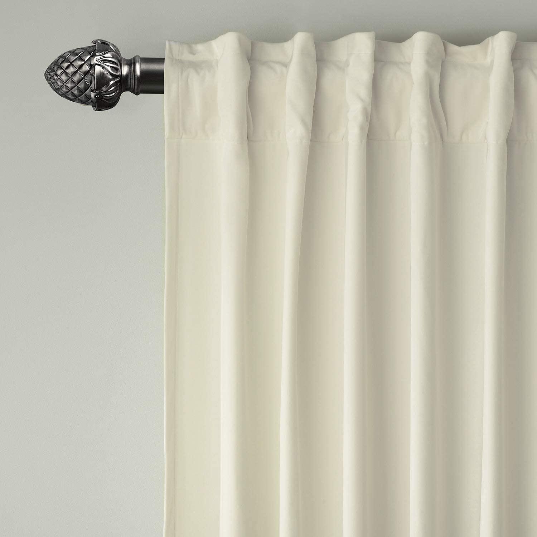 ChadMade Set of 2 Solid Matt Velvet Curtain Panel Drapes Back Tab/Rod Pocket Beige 50W x 84L Inch Each, Birkin Collection