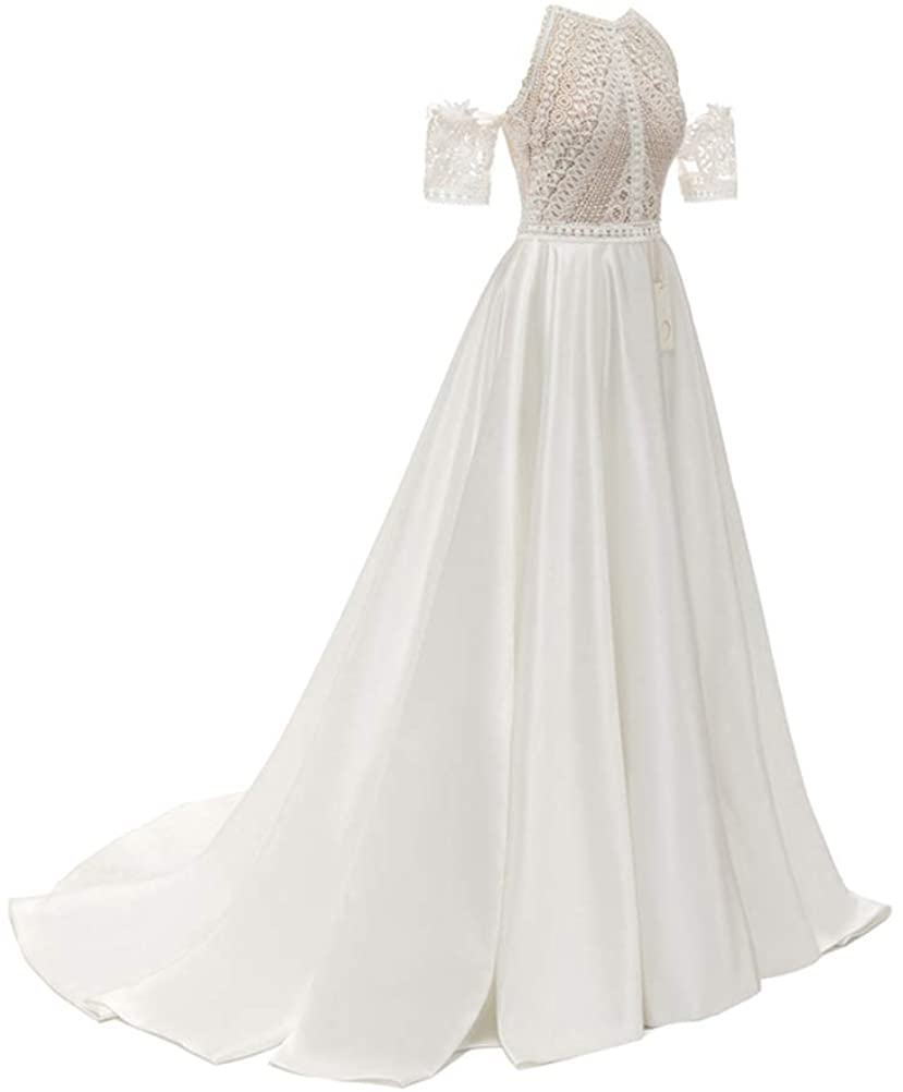 Women's White Wedding Dress for Brides Beach Dress with Lace and Pearls