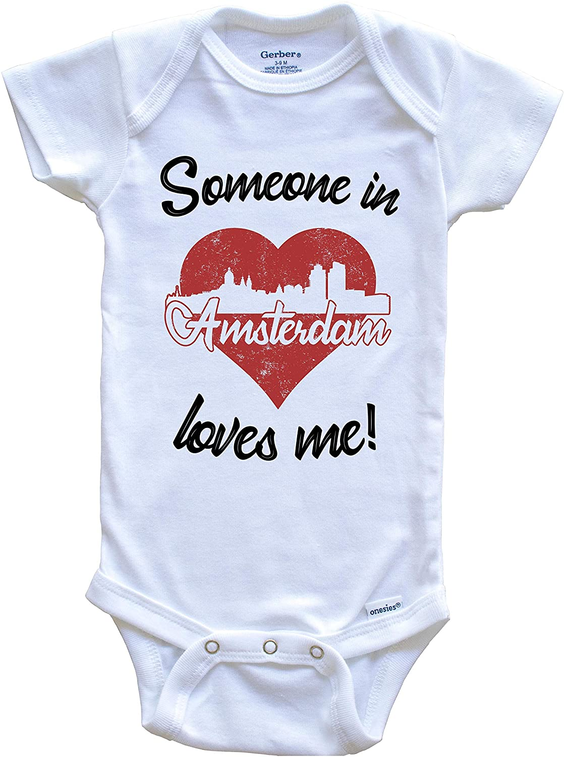 Someone in Amsterdam Loves Me Red Heart Skyline Baby Onesie