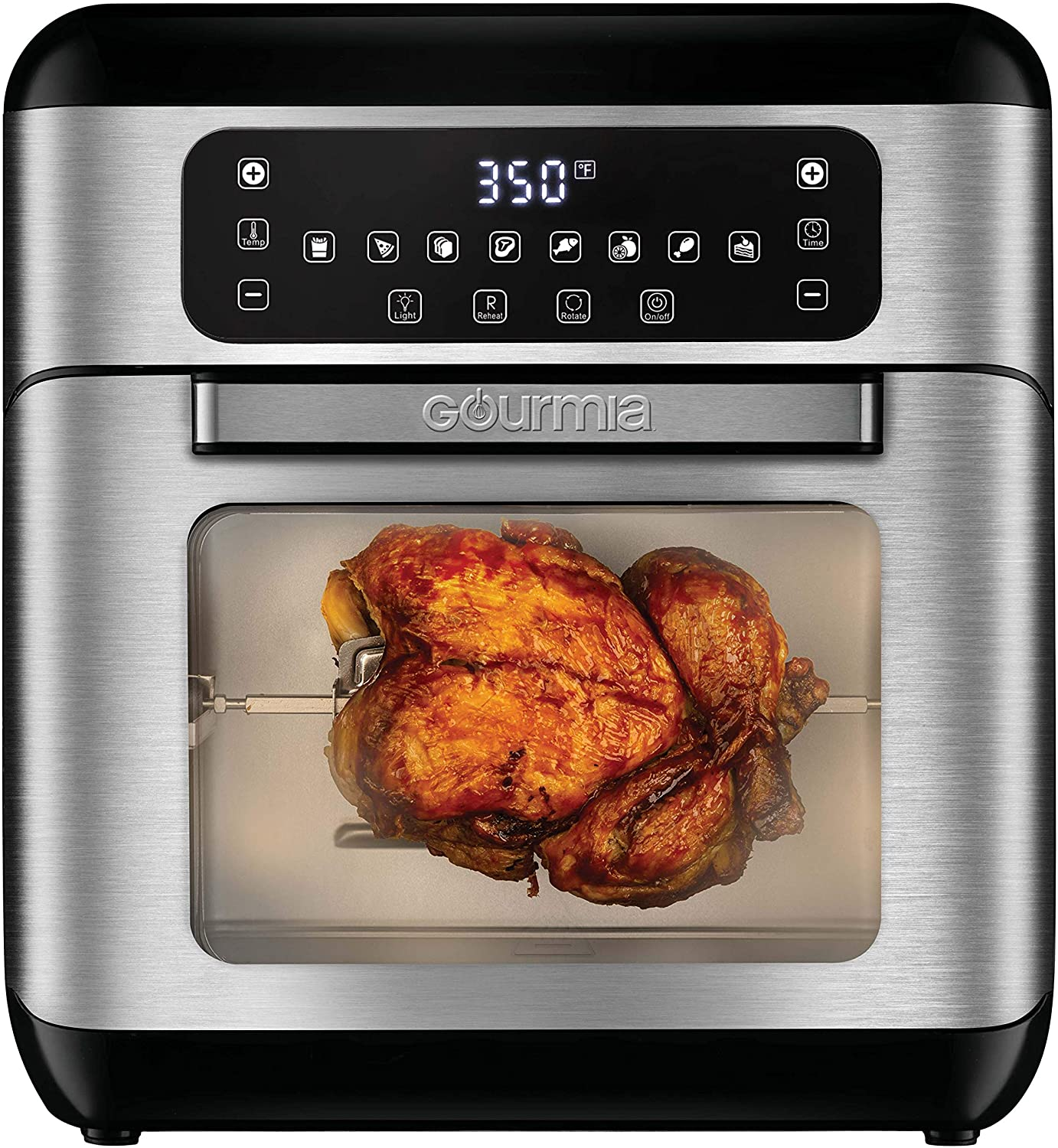 Gourmia GAF688 Digital Stainless Steel 11 Qt Window Free Fry Air Fryer Oven, Rotisserie & Dehydrator - 10 Cook Modes - Accessory Kit Included - Bonus Recipe Book