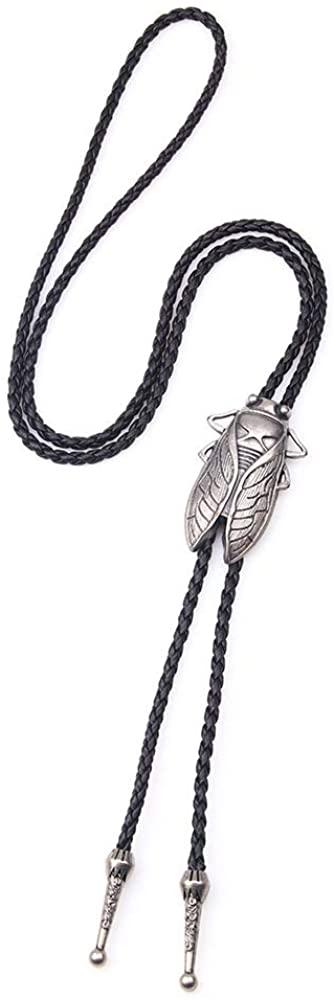 Handmade Vintage Cicada Braided Bolo Tie Texas Western Cowboy Necktie Cord Necklace