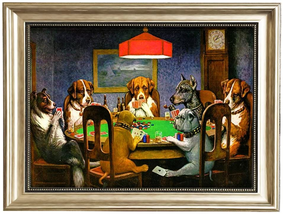 Eliteart-Dogs Playing Poker by Cassius Marcellus Coolidge Oil Painting Reproduction Giclee Wall Art Canvas Prints-Framed Size:22 1/2