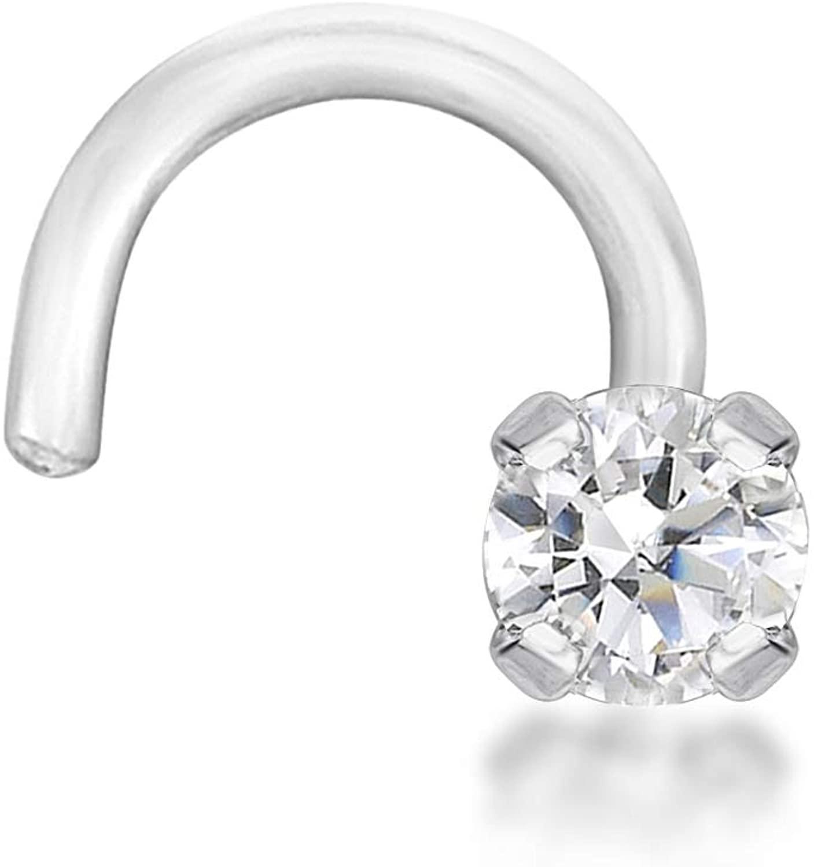 20 Gauge 14K White Gold 0.01 cttw 1.3 MM Diamond Nose Ring