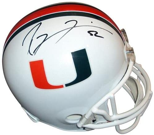 Ray Lewis Autographed Miami Hurricanes Deluxe Full-Size Replica Helmet - Autographed College Helmets