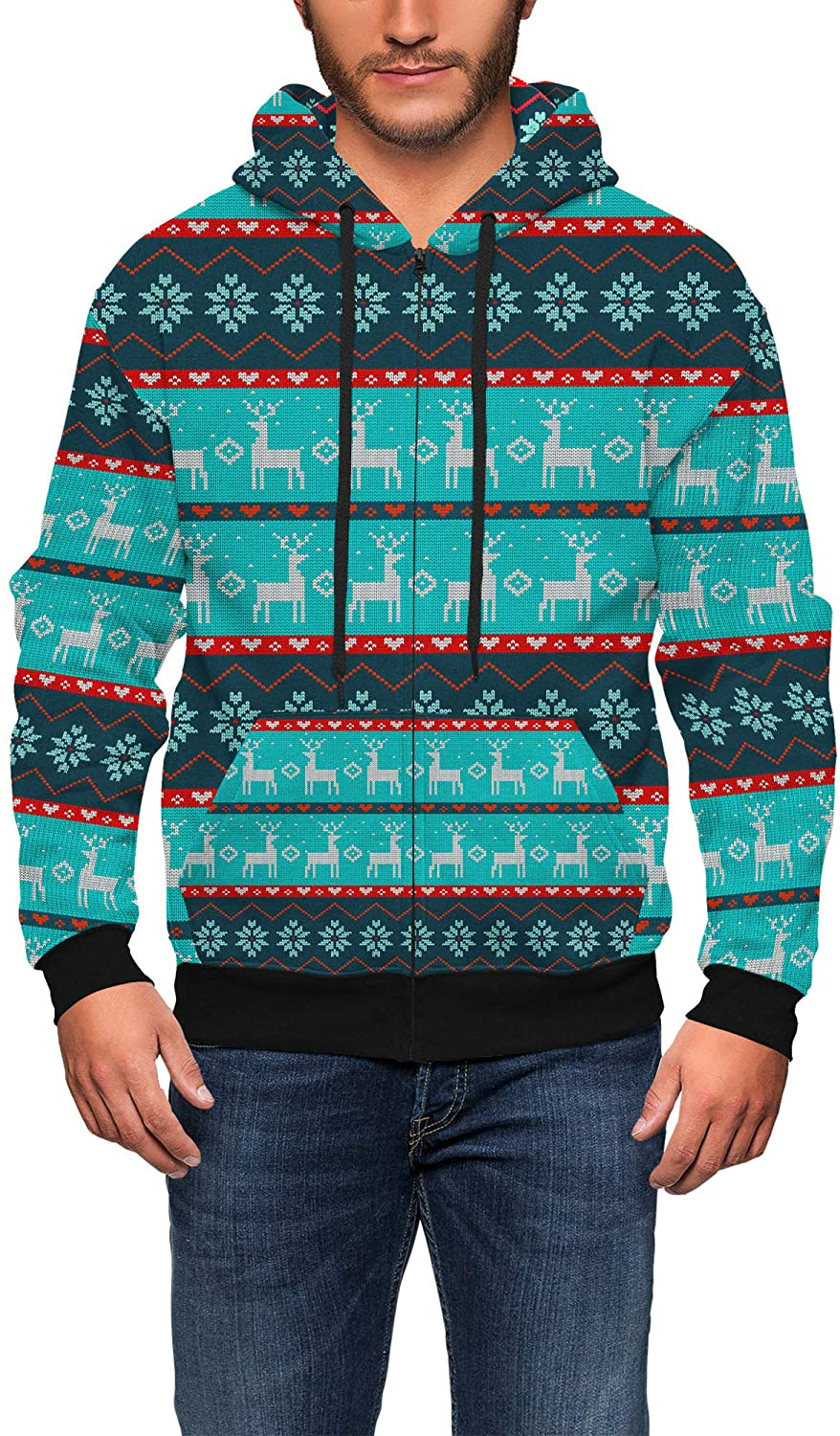 Mens Zip Up Hoodie - Ugly Christmas Reindeers Sweater Pattern