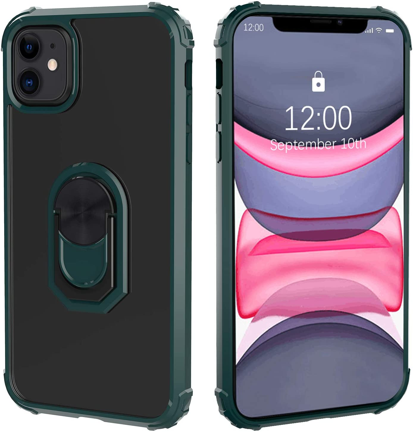 Restoo Designed for iPhone 11 Case,Protective Drop Test Bumper Case [Kickstand] [Clear] Compatible with iPhone 11 6.1 inch (Green)