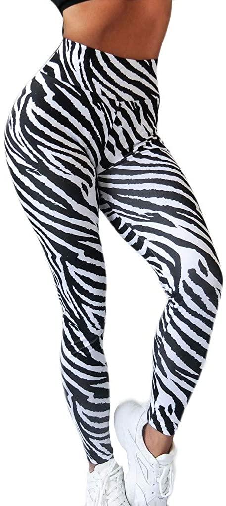FIRERO Womens Black White Striped Print High Waist Hips Stretch Running Fitness Yoga Nine Pants
