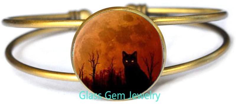 cat Halloween Logo Bracelet Bangle Handmade Resin Charming Bangle Jewelry Gift for Dress Accessories and Men Gift,Q0297