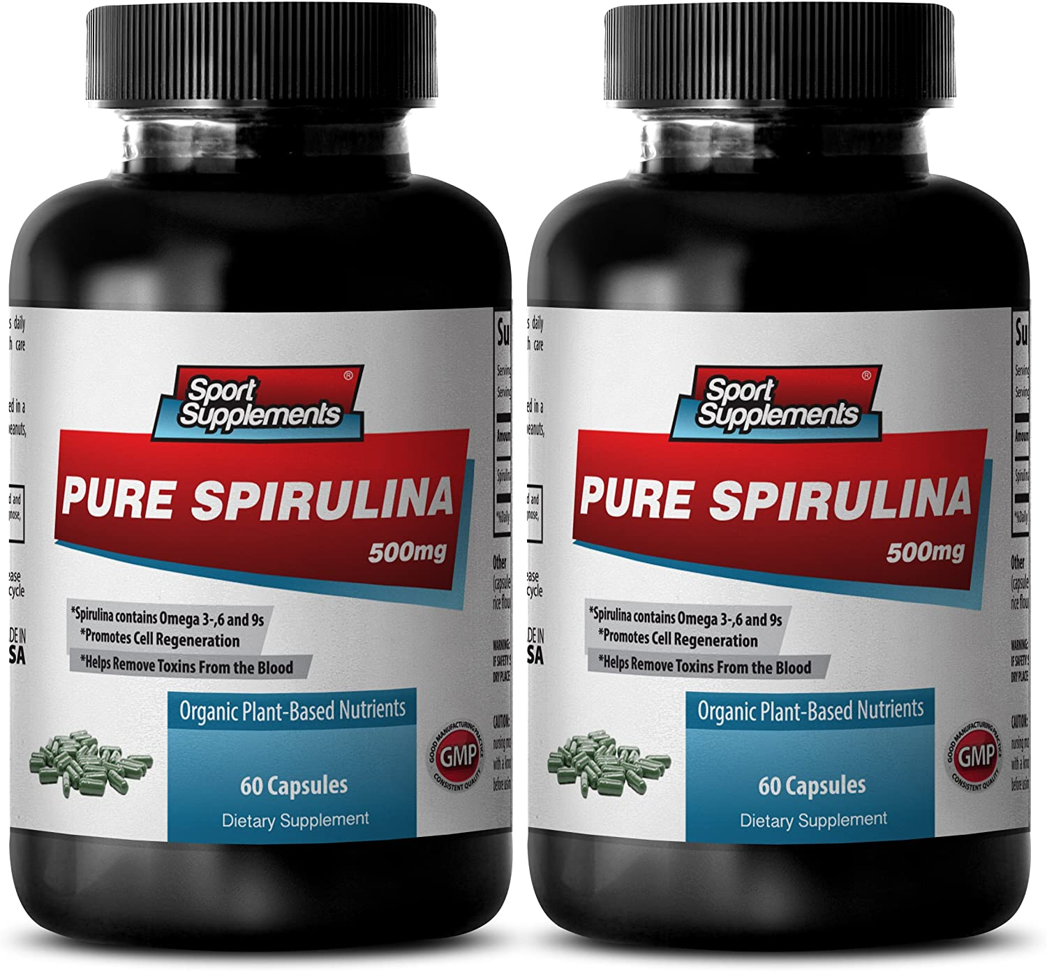 Natural Brain Function Support for Memory Focus & Clarity - Pure SPIRULINA 500mg - Blue Green Algae spiralina - 2 Bottles 120 Tablets