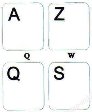 French (Azerty) Keyboard Stickers Non Transparent White Background for Any Pc Computer Laptop Desktop Keyboards