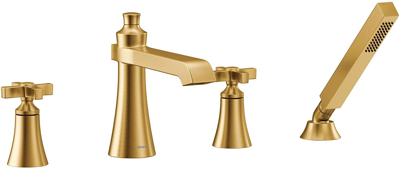 Moen TS929BG Flara 2-Handle Deck Mount Cross Handle Roman Tub Faucet Trim Kit, Valve Required, Including Single Function Handshower, Brushed Gold