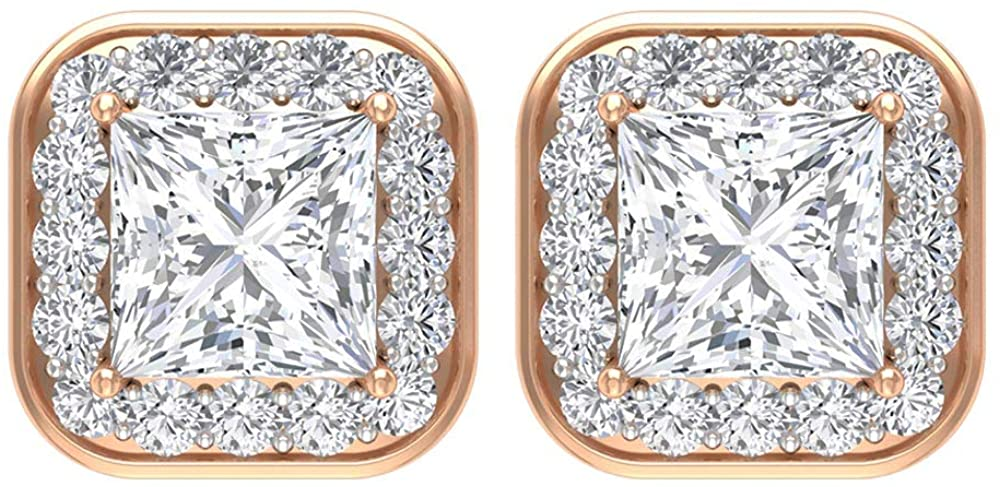 Custom HI-SI Diamond Cluster Gold Engraved Women Earring, 1/4 CT Certified Diamond Halo Wedding Stud Earrings, Princess Cut Solitaire Diamond Earrings, Screw back