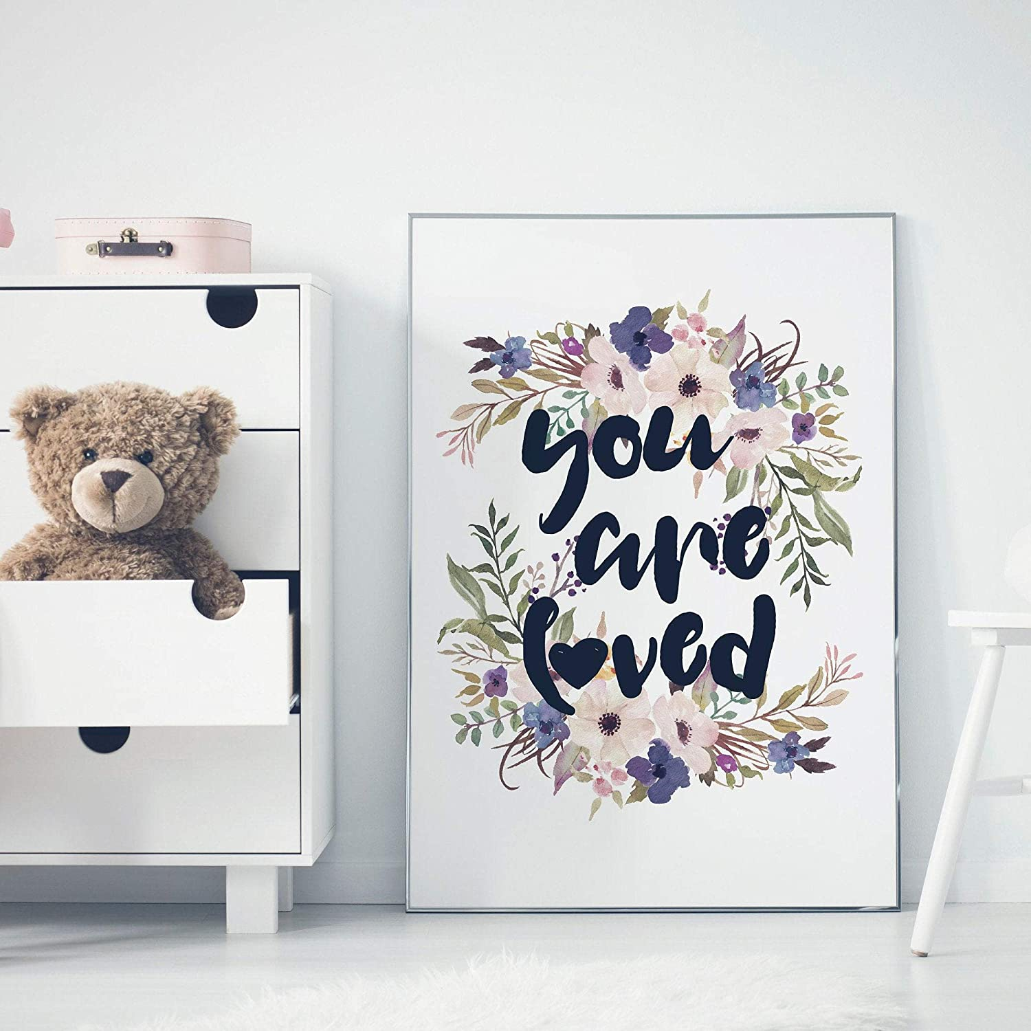 N / A You are Loved Wooden Sign with Floral Watercolor Art Wall Decor Sign for Girls Nursery Room Sign