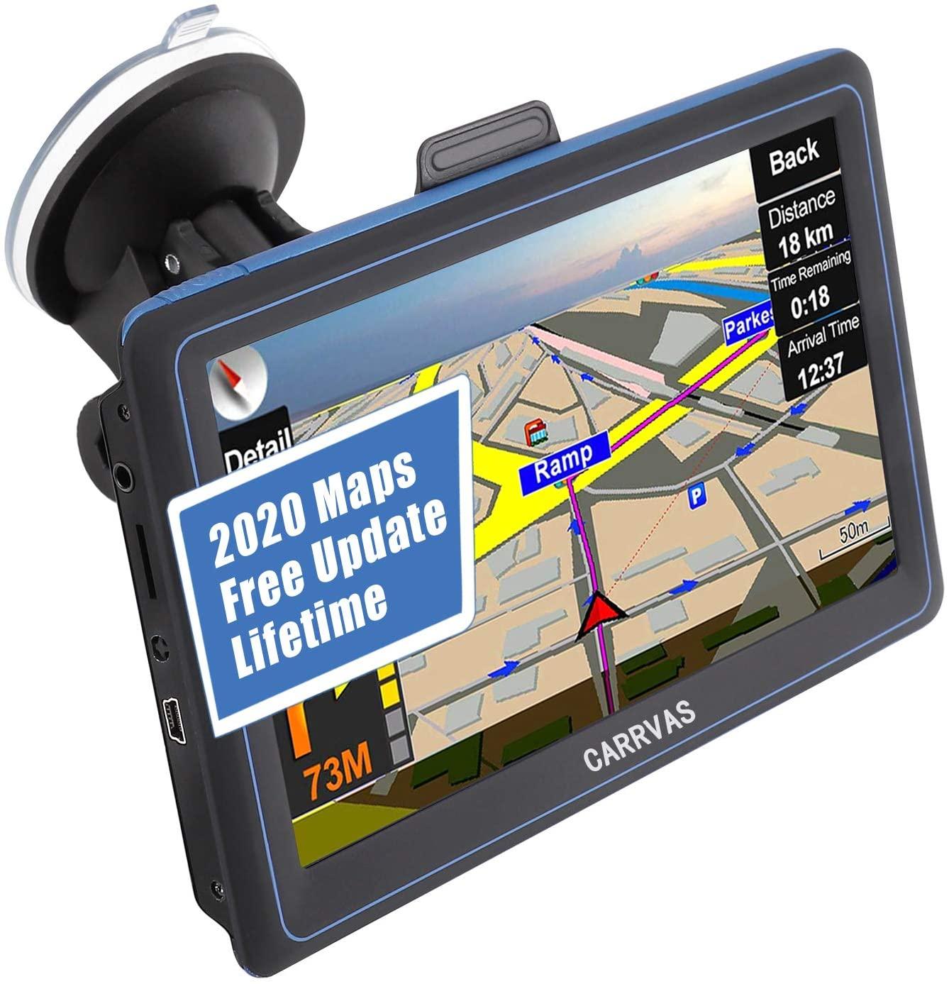 GPS Navigation for Car & RV & Truck, CARRVAS - 7 inch Satellite Navigation, North America, Central America, Free Lifetime Map Update, Speed Alert, Voice Turn Indication GPS Navigation System