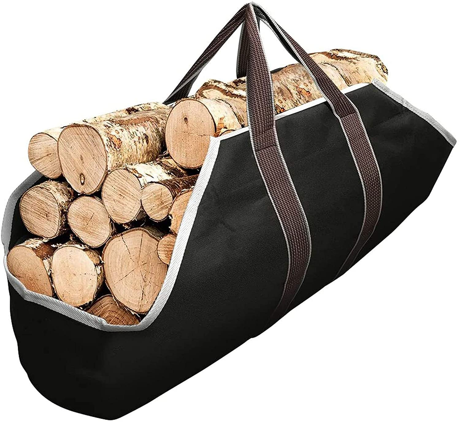 ZQTHL Fireplace Firewood Totes, Large Capacity Log Tote Bag for Wood Carrying,with Handles Security Strap,for Outdoor Tubular Birchwood Stand by Hearth Stove Tools Set Basket