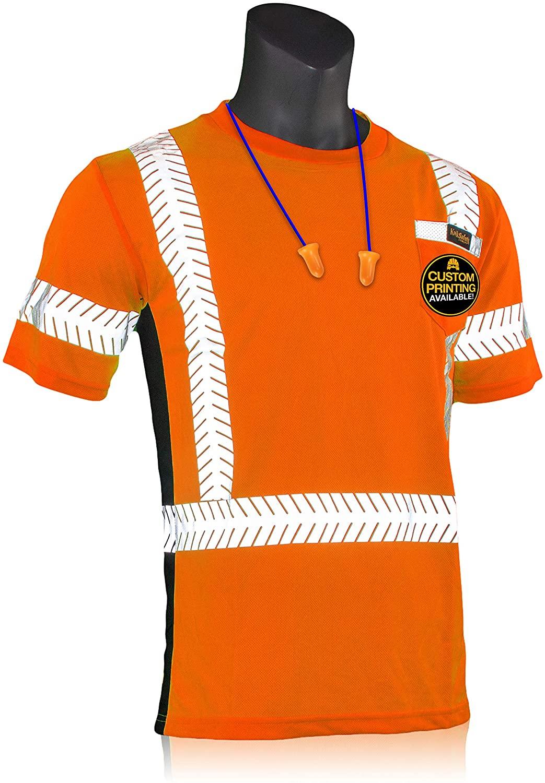 KwikSafety (Charlotte, NC) RENAISSANCE MAN Short Sleeve (w/POCKET) Class 2 ANSI High Visibility Safety Shirt Fishbone Reflective Tape Construction Security Hi Vis Clothing Men | Orange X-Large