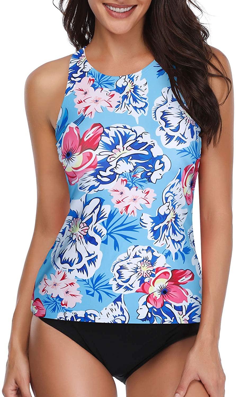 Holipick Women Tankini Swimsuit High Neck Halter Tummy Control Two Piece Bathing Suit