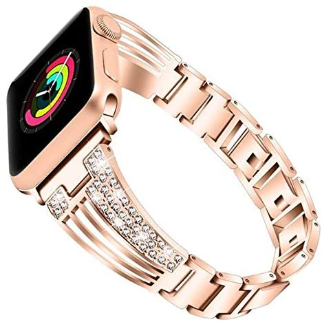 Nickey Compatible with Apple Watch Bands 38mm 40mm 42mm 44mm, Rhinestone Replacement Strap Compatible for Iwatch Series 5/4/3/2/1 Fashion Match (Color : Rose Gold, Size : 44mm)