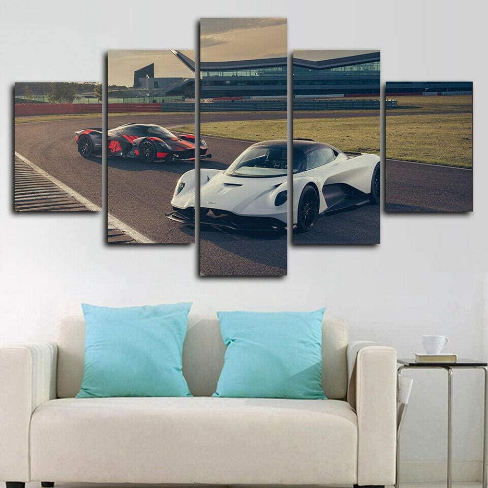 RMKXPA Posters & Prints Mural Framed Aston Martin Valkyrie Sports Car 5 Piece Canvas Print Wall Art Decor XXXL 200x100cm