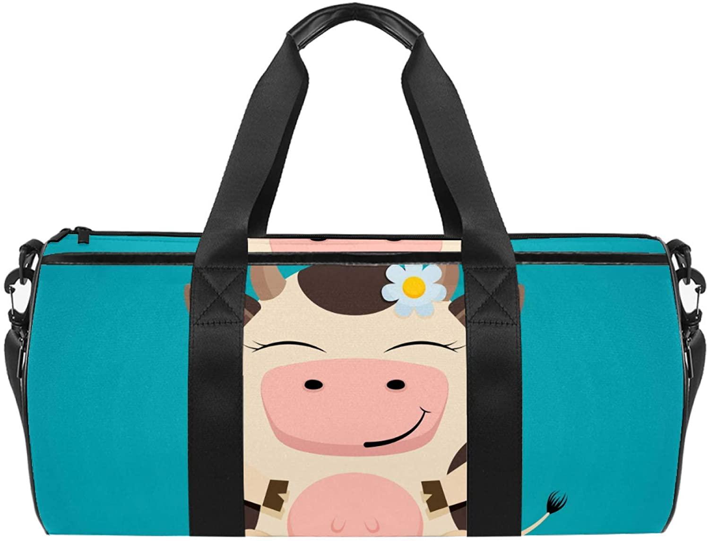 Sport Duffel Bag Cartoon cow (5) Gym Bag Kids Travel Bag Weekend Bag