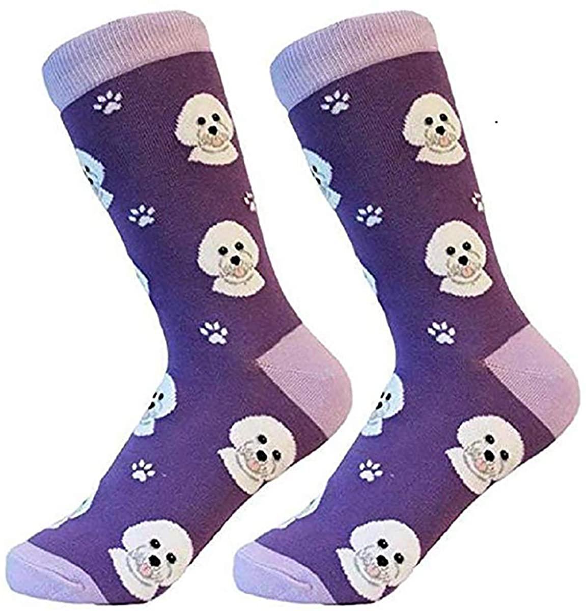 Bichon Frise Socks -200 Needle Count-Cotton Socks- Life Like Detail of Bichon- Unisex, One Size Fits Most