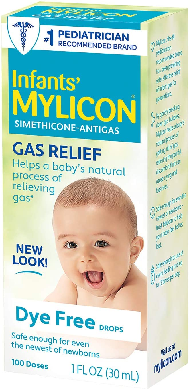 Infants Mylicon Gas Relief Drops for Infants and Babies, Dye Free Formula, 1 Fluid Ounce